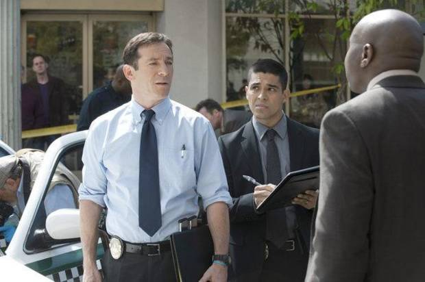 "AWAKE -- Episode: Pilot -- Pictured: (l-r) Jason Isaacs as Michael Britten, Wilmer Valderrama as Detective Efrem Vega, Steve Harris as Detective Isaiah ""Bird"" Freeman  -- Photo by: Lewis Jacobs/NBC"