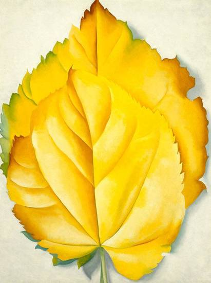 "Georgia O�Keeffe�s ""2 Yellow Leaves (Yellow Leaves)"" is featured in the special exhibit ""American Moderns, 1910-1960: From O�Keeffe to Rockwell"" on view through Jan. 6 at the Oklahoma City Museum of Art. Image provided"