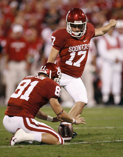 Oklahoma's Jimmy Stevens (17) kicks a PAT during the first half of the college football game between the University of Oklahoma Sooners (OU) and the University of Nebraska Huskers (NU) at the Gaylord Family-Oklahoma Memorial Stadium, on Saturday, Nov. 1, 2008, in Norman, Okla. 