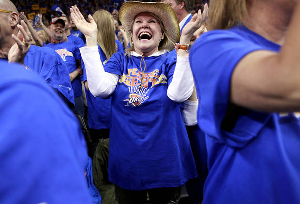 Sabrina Smythe, of Oklahoma City, cheers for the Thunder during the first half of game 7 of the NBA basketball Western Conference semifinals between the Memphis Grizzlies and the Oklahoma City Thunder at the OKC Arena in Oklahoma City, Sunday, May 15, 2011. Photo by John Clanton, The Oklahoman