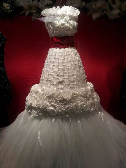 This bridal gown made of ribbon was on display at a showroom at the Dallas Market Center.