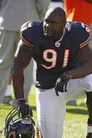 Chicago Bears defensive tackle Tommie Harris (91) is seen before an NFL football game against the Seattle Seahawks in Chicago, Sunday, Oct. 17, 2010. (AP Photo/Nam Y. Huh)