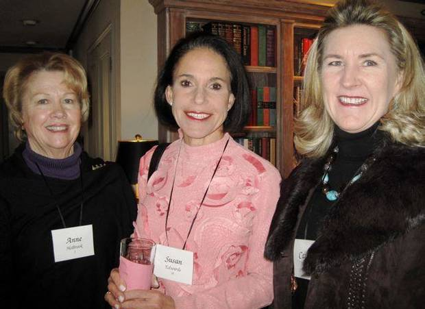 FRIENDS CELEBRATE JANUARY....Anne Holbrook, Susan Edwards and  Caroline Gist were at the party. (Photo by Helen Ford Wallace).