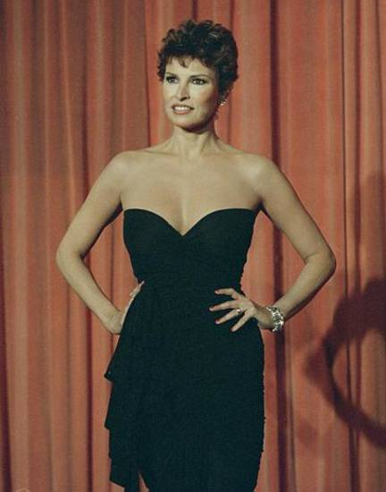 Actress Raquel Welch at the 42nd Golden Globe Awards in Beverly Hills, Calif., Jan. 26, 1985. (AP Photo/Reed Saxon)