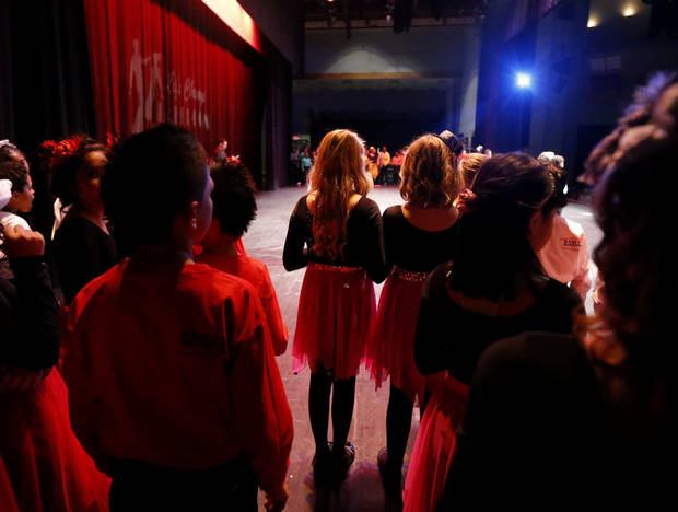 Dancers wait to perform at a dance competition at the Rose State Performing Arts Theatre in Midwest City. Photo by Bryan Terry, The Oklahoman <strong>BRYAN TERRY - THE OKLAHOMAN</strong>