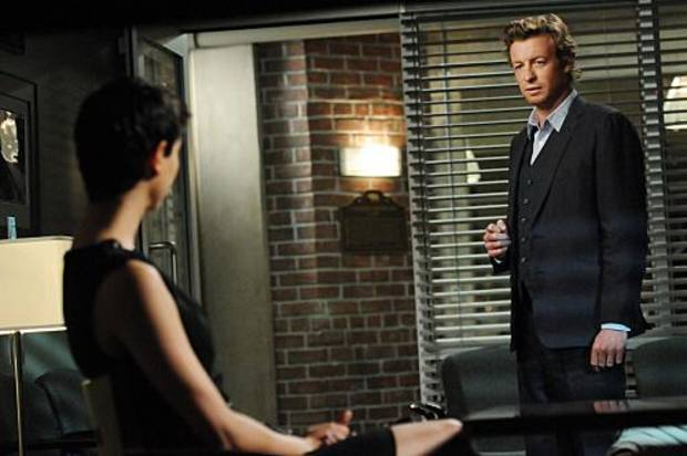 &quot;Every Rose Has Its Thorn&quot;-- CBI Special Consultant Patrick Jane (Simon Baker, right) meets Erica (guest star Morena Baccarin, left), the owner of an exclusive matchmaking website whose husband has been murdered, on THE MENTALIST, Thursday, April 7 (10:00-11:00 PM, ET/PT) on the CBS Television Network. Photo: MICHAEL YARISH/WARNER BROS. 2011 WARNER BROS. TELEVISION. All Rights Reserved