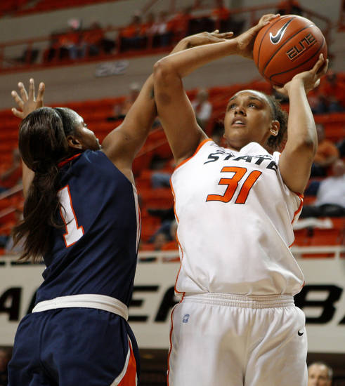 OSU's Kendra Suttles (31) shoots the ball beside Pepperdine's Robie Mayberry (1) during a first-round NIT women's college basketball game between Oklahoma State University (OSU) and Pepperdine at Gallagher-Iba Arena in Stillwater, Okla., Wednesday, March 16, 2011. Photo by Bryan Terry, The Oklahoman