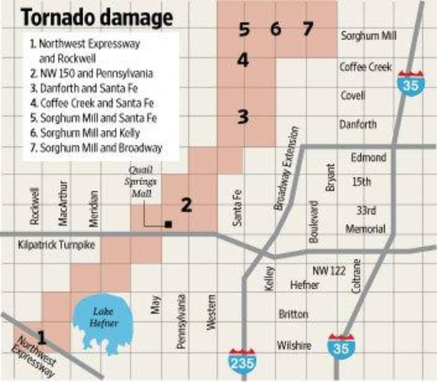Path of the Tuesday, Feb. 10, 2009, tornado in the Oklahoma City metro area.