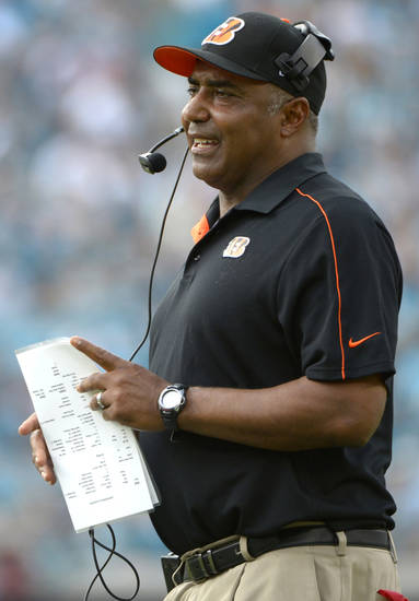 Cincinnati Bengals head coach Marvin Lewis watches from the sideline during the second half of an NFL football game against the Jacksonville Jaguars in Jacksonville, Fla., Sunday, Sept. 30, 2012. The Bengals won 27-10.(AP Photo/Phelan M. Ebenhack)