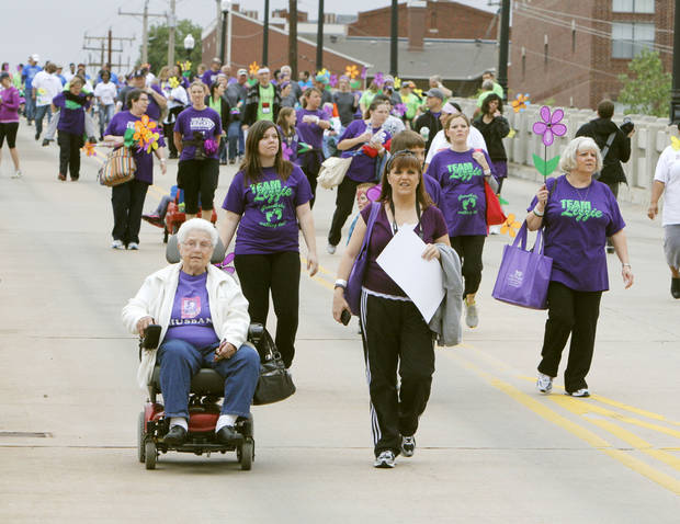 Walkers near the end of the 2012 Oklahoma City Walk to End Alzheimer's at Bricktown Ballpark in Oklahoma City, OK, Saturday, September 15, 2012,  By Paul Hellstern, The Oklahoman