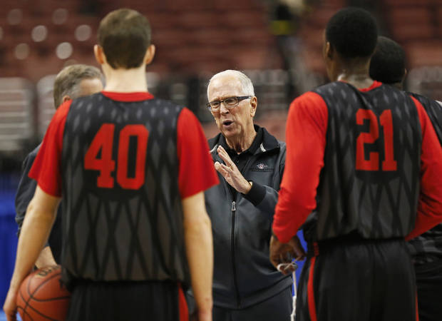 San Diego State coach Steve Fisher speaks to his players during the practice and press conference day for the second round of the NCAA men's college basketball tournament at the Wells Fargo Center in Philadelphia, Thursday, March 21, 2013. OU will play San Diego State in the second round on Friday. Photo by Nate Billings, The Oklahoman