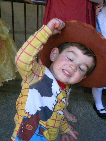 William Hughes, 3, practices his Woody impersonation.