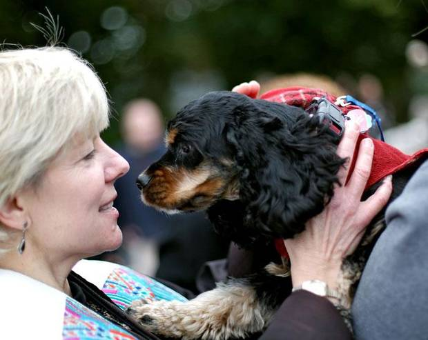 Rev. Pam Normile blesses a cocker spaniel named Sipsey, during  a Blessing of the Animals service outside First Presbyterian Church in Norman on Sunday, Oct. 11, 2009. By John Clanton, The Oklahoman