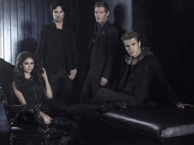 THE VAMPIRE DIARIES Pictured (L-R): Nina Dobrev as Elena, Ian Somerhalder as Damon, Joseph Morgan as Klaus, and Paul Wesley as Stefan. Frank Ockenfels 3/The CW © 2011 The CW Network, LLC. All rights reserved.