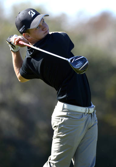 Daniel Trevino, son of Lee Trevino, watches his tee shot on the ninth hole during the first round of the Father/Son Challenge golf tournament in Orlando, Fla., Saturday, Dec. 15, 2012.(AP Photo/Phelan M. Ebenhack)