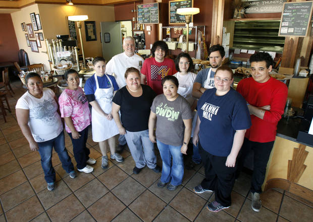 Prairie Thunder Baking Company owner John McBryde and some of his employees pose at the Prairie Thunder Baking Company in Oklahoma City, OK, Thursday, October 18, 2012,  By Paul Hellstern, The Oklahoman