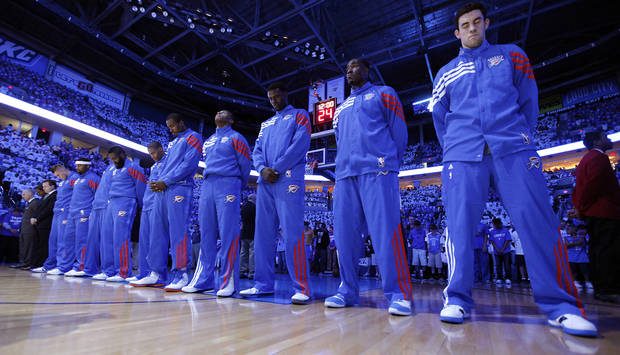 Oklahoma City's Nick Collison and the rest of the team line up for the pre-game prayer during Game 2 in the second round of the NBA playoffs between the Oklahoma City Thunder and the L.A. Lakers at Chesapeake Energy Arena on Wednesday,  May 16, 2012, in Oklahoma City, Oklahoma. Photo by Chris Landsberger, The Oklahoman