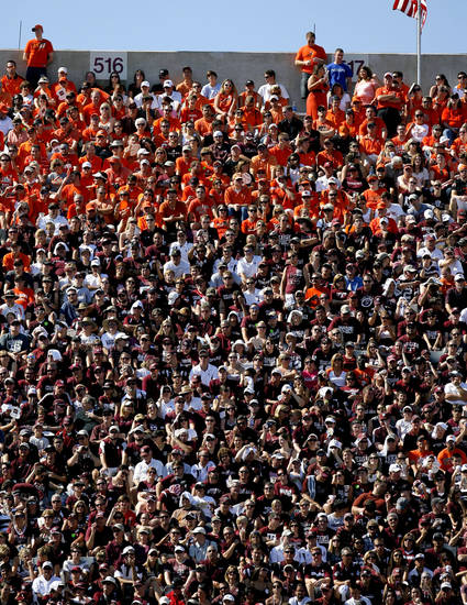 Fans watch the first half during of the Texas A&M-Oklahoma State game on Saturday in College Station, Texas. Photo by Sarah Phipps, The Oklahoman