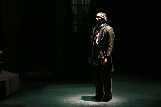 "Devon Frost as Marley performs during a dress rehearsal for Oklahoma Children's Theatre and TheatreOCU's production of ""A Christmas Carol"" at the Burg Theater in the Kirkpatrick Fine Arts Center at Oklahoma City University. Photo by Nate Billings, The Oklahoman <strong>NATE BILLINGS - NATE BILLINGS</strong>"