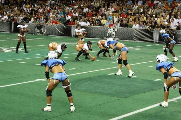 "Photo of Orlando's lingerie football team. Used with permission of  <a href=""http://www.orlandosentinel.com/entertainment/os-orlando-fantasy-lingerie-football-pictures,0,6349441.photogallery"">OrlandoSentinel.com</a>"