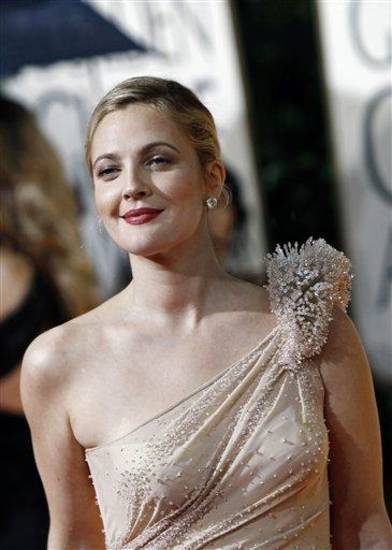 Drew Barrymore arrives at the 67th Annual Golden Globe Awards on Sunday, Jan. 17, 2010, in Beverly Hills, Calif. (AP Photo/Matt Sayles)