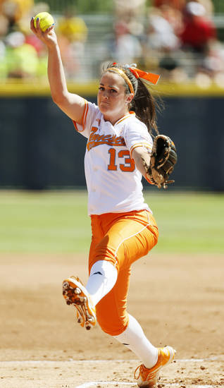Ellen Renfroe (13) pitches for Tennessee during an NCAA softball game in the Women's College World Series between Washington and Tennessee at ASA Hall of Fame Stadium in Oklahoma City, Saturday, June 1, 2013. Tennessee won 1-0. Photo by Nate Billings, The Oklahoman