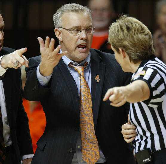 Oklahoma State coach Jim Littell argues his case with an official during a women's college basketball game between Oklahoma State and West Virginia at Gallagher-Iba Arena in Stillwater, Okla.,  Tuesday, Jan. 29, 2013. West Virginia won 67-61. Photo by Bryan Terry, The Oklahoman