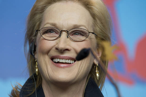 Actress Meryl Streep smiles during the press conference of the film The Iron Lady at the 62 edition of the Berlinale, International Film Festival in Berlin Tuesday, Feb. 14, 2012. Streep will be awarded with the Honorary Golden Bear for her lifetime achievement.(AP Photo/Gero Breloer)