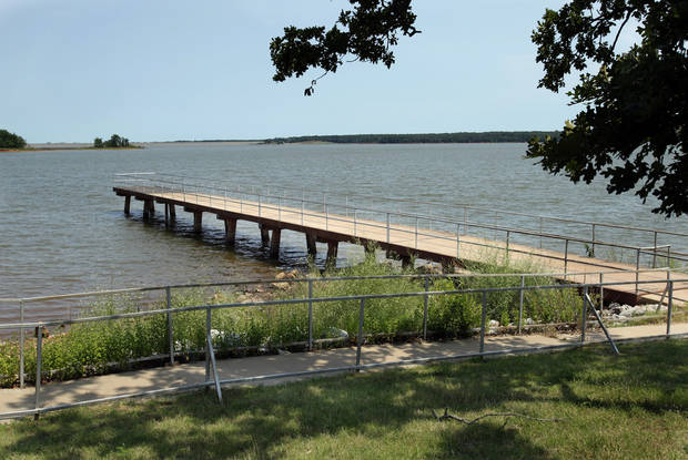 Water levels at Thunderbird Lake  have risen with recent heavy rains as seen at Fisherman's Point on Wednesday, May 30, 2012, in Norman, Okla.  Photo by Steve Sisney, The Oklahoman