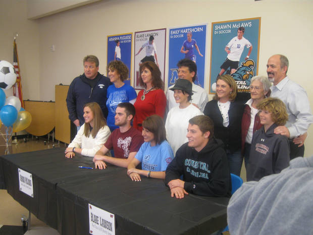 Deer Creek's Emily Hartshorn (Middle Tennessee), Blake Lawson (West Texas A&M), Arianna Pugliese (UCO) and Shawn McLaws (Coastal Carolina).