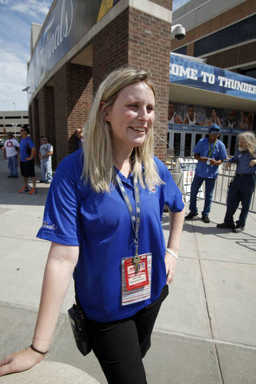 Mary Jo Hope solves problems outside the Arena as a Thunder staffer before the first game of the NBA basketball finals at the Chesapeake Arena on Tuesday, June 12, 2012 in Oklahoma City, Okla.  Photo by Steve Sisney, The Oklahoman