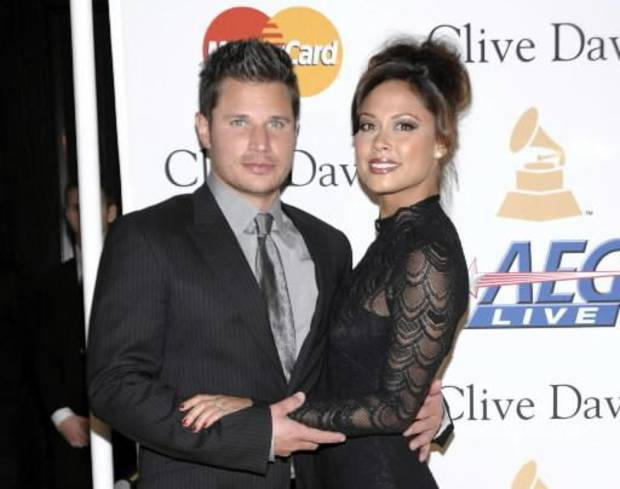 This Feb. 12, 2011 file photo shows Nick Lachey, left, and Vanessa Lachey arriving at the Pre-Grammy Gala & Salute to Industry Icons with Clive Davis honoring David Geffen in Beverly Hills, Calif. AP Photo