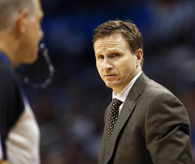 Thunder coach Scott Brooks looks at an official during an NBA basketball game between the Oklahoma City Thunder and the Sacramento Kings at Chesapeake Energy Arena in Oklahoma City, Monday, April 15, 2013. Photo by Nate Billings, The Oklahoman