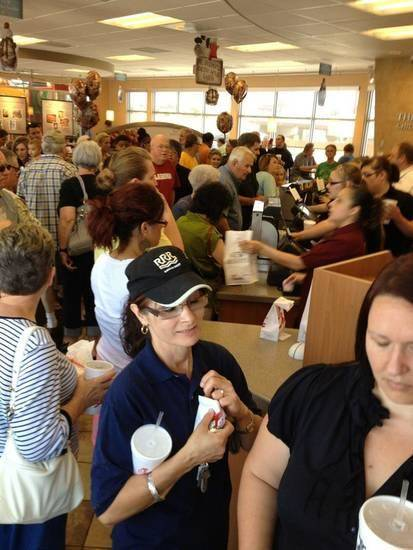 Chic-fil-A on SW 74th and Western was a madhouse during lunch hours today....filled with supporters and few protesters. Submitted by Jessica Hernandez
