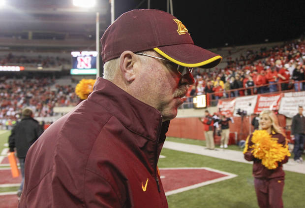 Minnesota head coach Jerry Kill walks off the field following an NCAA college football game against Nebraska, in Lincoln, Neb., Saturday, Nov. 17, 2012. Nebraska won 38-14. (AP Photo/Nati Harnik)