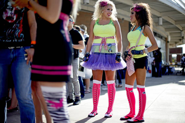 Susan Alley, left, and Elizabeth Wilson, both of Woodward, Okla., wait outside the Ford Center for the Lady Gaga concert in Oklahoma City on Tuesday, July 20, 2010.  Photo by Bryan Terry, The Oklahoman