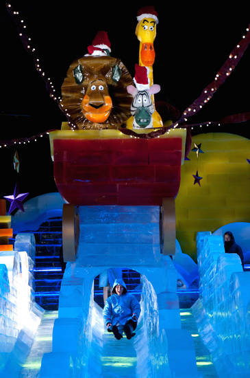 ICE! featuring Merry Madagascar at The Gaylord Texan Resort is an enormous display of sculpted ice art, with an ice slide. Photo provided. <strong>Stephen Elliot</strong>