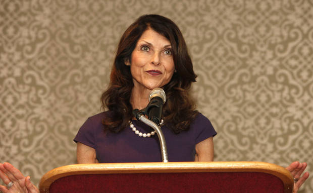 Pam Tebow, mom of NFL star Tim Tebow, shares her faith testimony at the Deaconess Pregnancy and Adoption Services luncheon, Thursday, September 20, 2012. Photo By David McDaniel/The Oklahoman