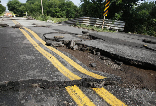 This bridge on Covell Rd. between Santa Fe and Western in Edmond, OK, was washed out by yesterday's torential rains, Tuesday, June 15, 2010. By Paul Hellstern, The Oklahoman