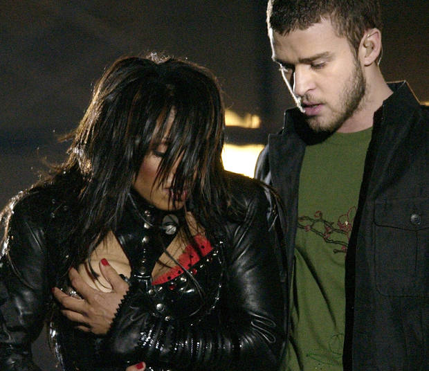 FILE - In this Sunday Feb. 1, 2004 file photo, entertainer Janet Jackson, left, covers her breast after her outfit came undone during the half time performance with Justin Timberlake at Super Bowl XXXVIII  in Houston. Sony Electronics and the Nielsen television research company collaborated on a survey ranking TV's most memorable moments. Other TV events include, the Sept. 11 attacks in 2001, Hurricane Katrina in 2005, the O.J. Simpson murder trial verdict in 1995 and the death of Osama bin Laden in 2011.(AP Photo/David Phillip, File) ORG XMIT: NYET131