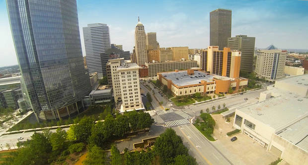 This photograph of downtown was taken from video shot from a quadrocopter used by Price Edwards & Co. in the commercial real estate business. <strong> - PROVIDED BY PRICE EDWARDS & CO.</strong>