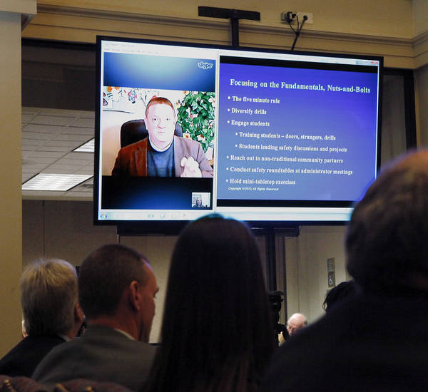 The first presenter delivered his remarks via Skype on a projection  screen in the room. The Oklahoma Commission on School Security convened for the first time Tuesday afternoon, Jan. 22, 2013, at the state Capitol.  Lt. Gov. Todd Lamb and Senate Pro-tempore Brian Bingman chaired the committee. Photo by Jim Beckel, The Oklahoman
