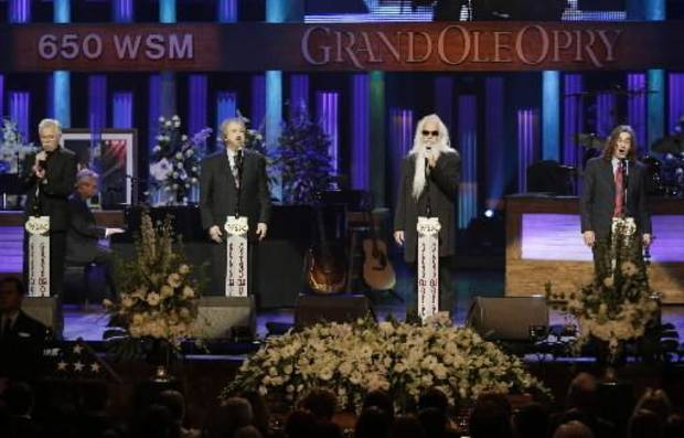 The Oak Ridge Boys perform during the funeral for country music star George Jones in the Grand Ole Opry House on Thursday, May 2, 2013, in Nashville, Tenn. Jones, one of country music's biggest stars who had No. 1 hits in four separate decades, died April 26. (AP)