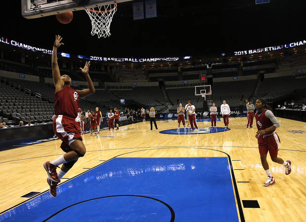 Oklahoma guard Jasmine Hartman (45) shoots a lay up during the press conference and practice day at the Oklahoma City Regional for the NCAA women's college basketball tournament at Chesapeake Arena in Oklahoma City, Saturday, March 30, 2013. Photo by Sarah Phipps, The Oklahoman
