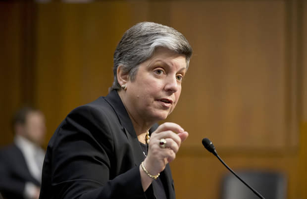 Homeland Security Secretary Janet Napolitano testifies on Capitol Hill in Washington, Tuesday, April 23, 2013, before the Senate Judiciary Committee hearing on immigration reform. (AP Photo/J. Scott Applewhite)
