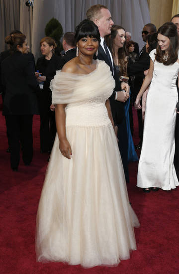 Octavia Spencer in Tadashi Shoji  arrives at the Oscars at the Dolby Theatre on Sunday Feb. 24, 2013, in Los Angeles. (Photo by Todd Williamson/Invision/AP) <strong>Todd Williamson</strong>