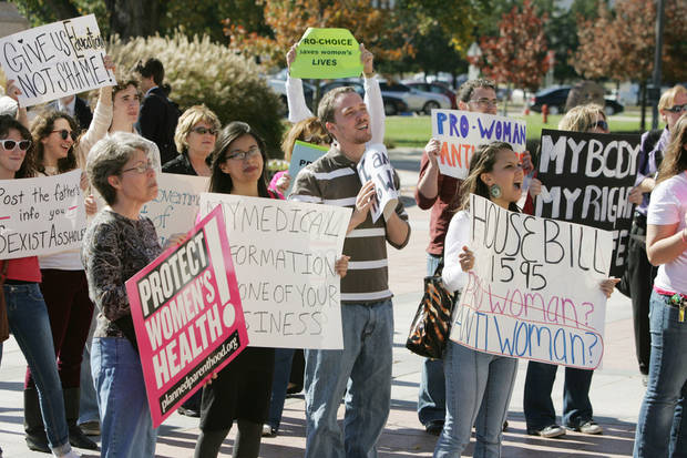 Supporters of abortion rights rally Nov. 6, 2009, at the state Capitol in Oklahoma City. PHOTO BY STEVE GOOCH, THE OKLAHOMAN ARCHIVEs