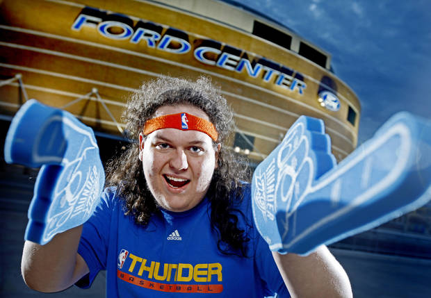 Thunder super fan Zeb Benbrook poses for a portrait outside the Ford Center in Oklahoma City, Thursday, Feb. 12, 2009. PHOTO BY BRYAN TERRY, THE OKLAHOMAN