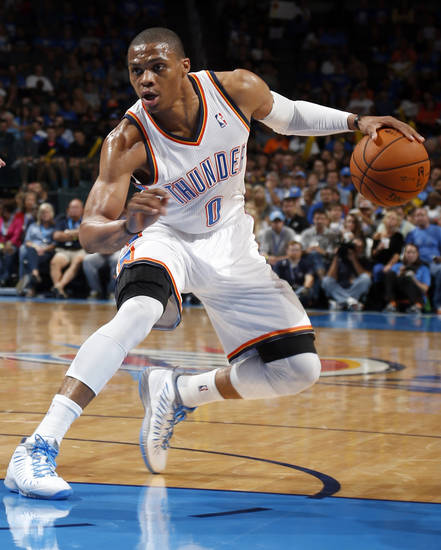 during the NBA preseason basketball game between the Oklahoma City Thunder and the Denver Nuggets at the Chesapeake Energy Arena, Sunday, Oct. 21, 2012. Photo by Sarah Phipps, The Oklahoman