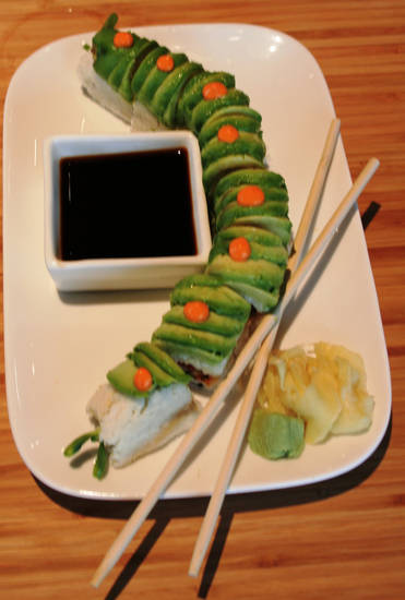 Spicy Vegetable Sushi with avocado, cucumber and sesame.
